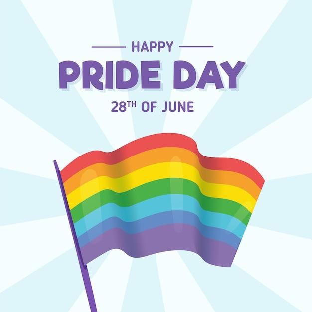Bandera del arcoíris del día del orgullo vector gratuito