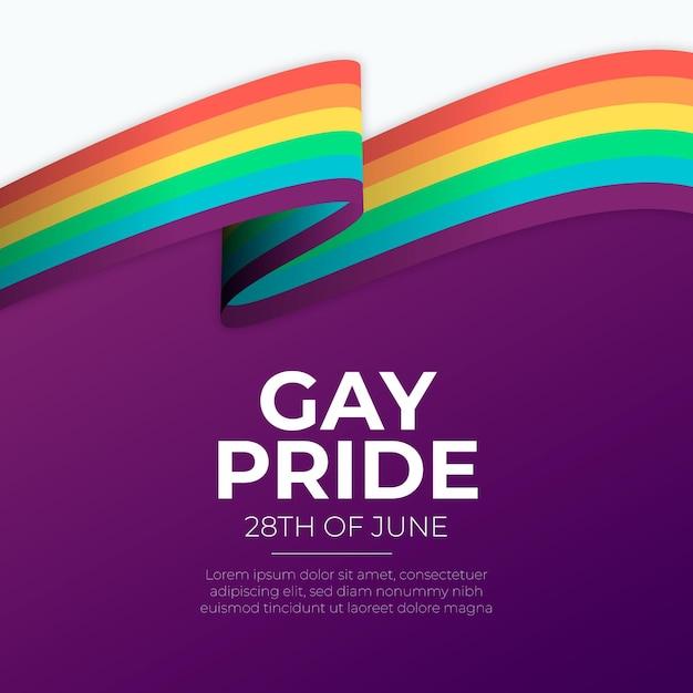 Bandera del arcoíris del día del orgullo Vector Premium