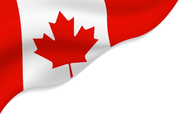 Bandera De Canadá Aislada Sobre Fondo Blanco Con Espacio De