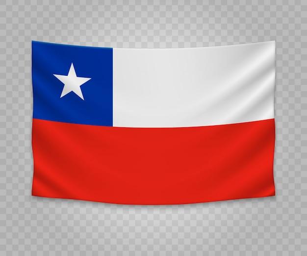 Bandera colgante realista de chile Vector Premium