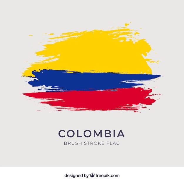 Bandera de colombia de pinceladas Vector Premium