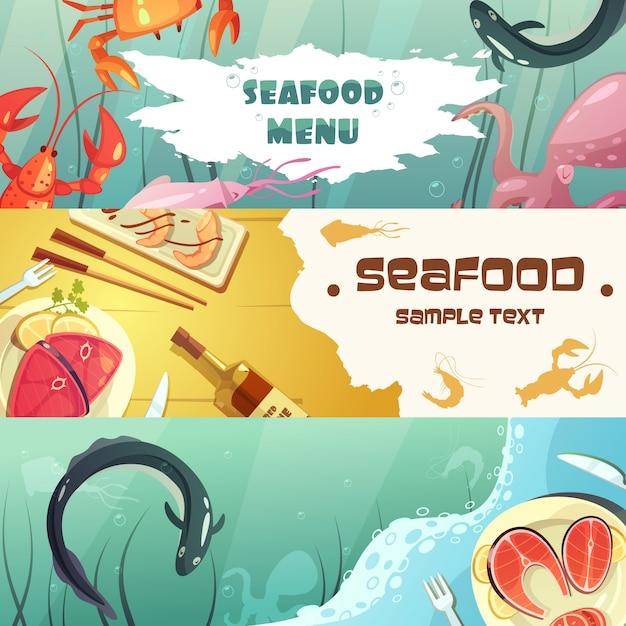 Bandera colorida de los mariscos de la historieta vector gratuito