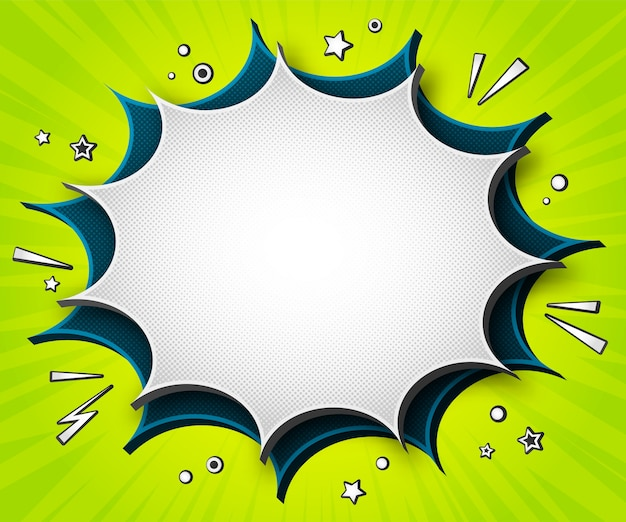Bandera de cómics coloridos. dibujos animados de burbujas de discurso sobre fondo verde Vector Premium