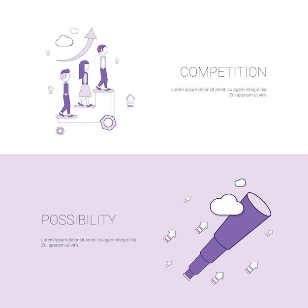 Bandera de la competencia empresarial y la posibilidad de desarrollo Vector Premium