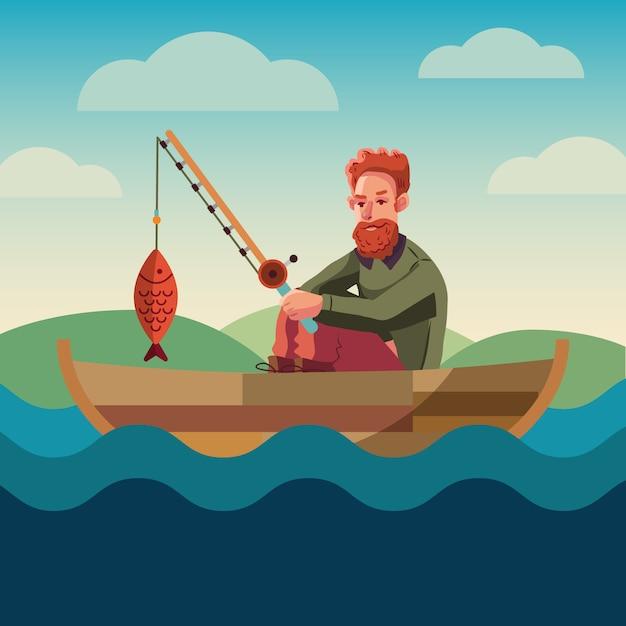 Bandera conceptual de pesca. diseño plano. recreación cerca del agua. club de hobbies de pesca. vector gratuito