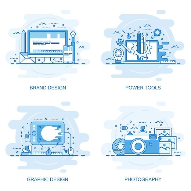 Bandera de web de concepto de línea de color plano moderno ...