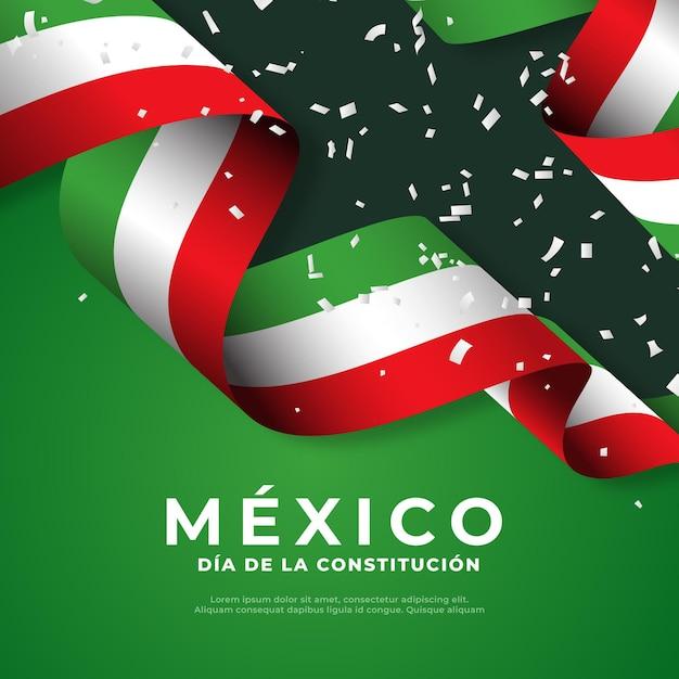 Bandera del día de la constitución mexicana vector gratuito