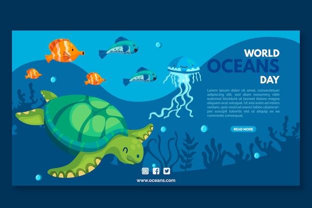 Bandera del día de los océanos de tortugas y peces Vector Premium