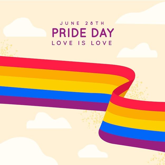 Bandera del día del orgullo del arco iris en el cielo vector gratuito