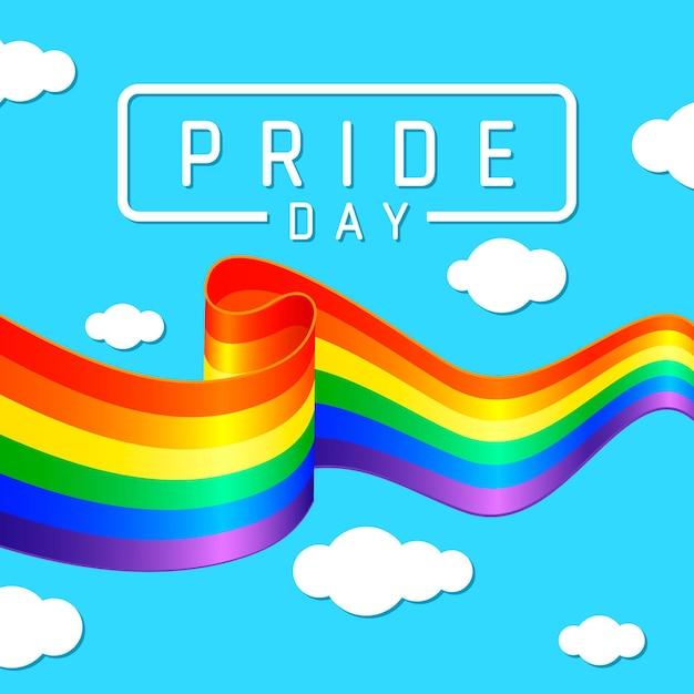 Bandera del día del orgullo con arco iris y cielo Vector Premium
