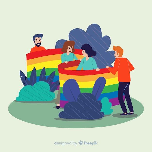 Bandera del día del orgullo lgbt vector gratuito