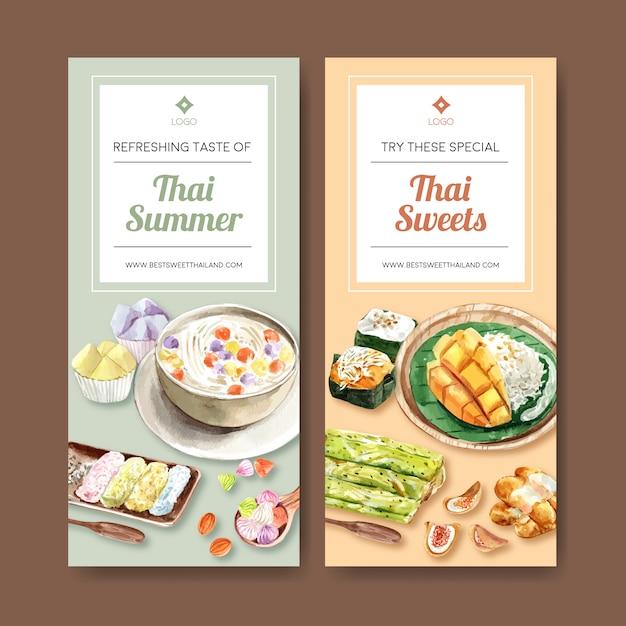 Bandera dulce tailandesa con arroz pegajoso, tailandés crujiente ilustración acuarela. vector gratuito