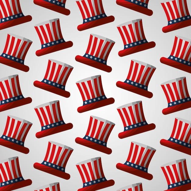 Bandera en sombrero superior patrón de independencia americano ...