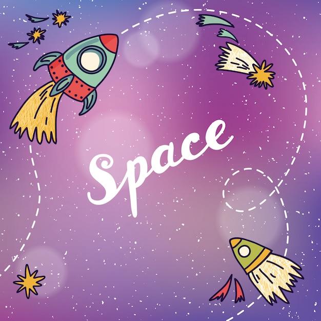Bandera espacial con planetas, cohetes, astronautas y estrellas. fondo infantil dibujado a mano ilustración vectorial. Vector Premium