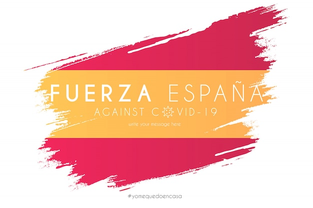 Bandera española en salpicaduras de acuarela con mensaje de soporte vector gratuito