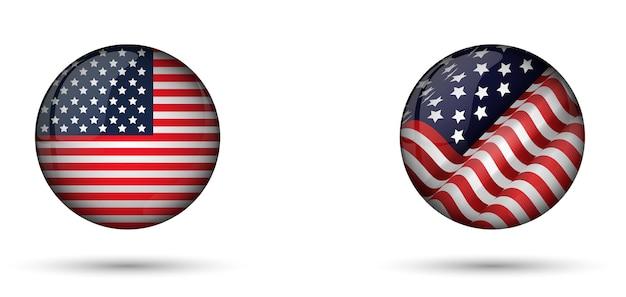 Bandera De Estados Unidos De América En Brillante Del