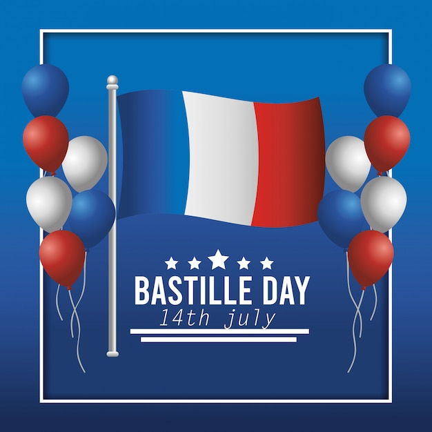 Bandera de francia y globos con decoración de estrellas. vector gratuito