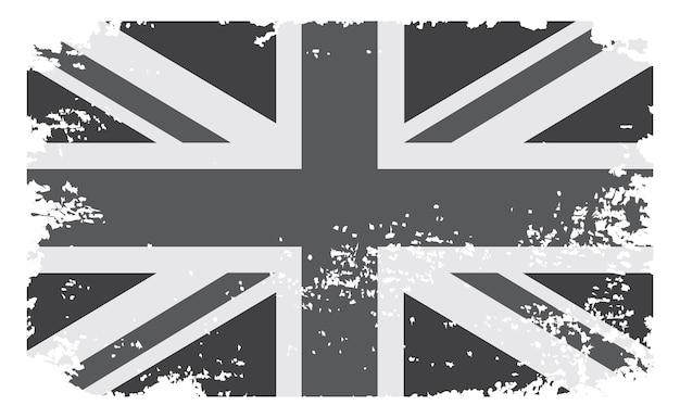 Bandera de grunge de reino unido en blanco y negro Vector Premium