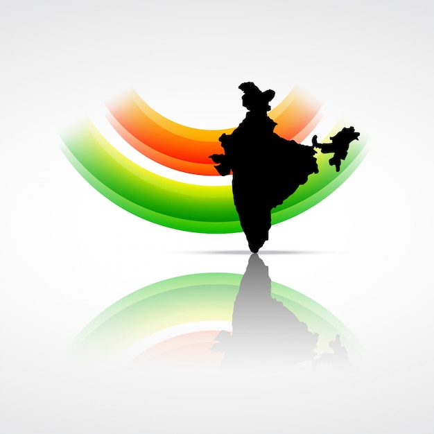 Bandera india con mapa de la india vector gratuito