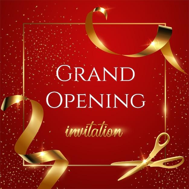 Bandera de invitación roja de gran inauguración, tijeras brillantes cortando cinta dorada ilustración realista. Vector Premium