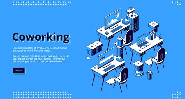 Bandera isométrica del espacio de coworking. trabajo en equipo vector gratuito