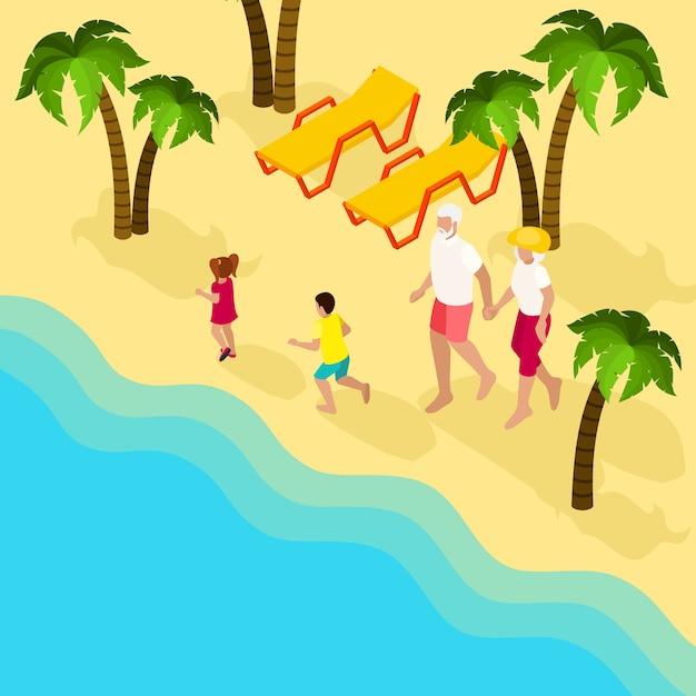 Bandera isométrica de las vacaciones de la familia de las personas jubiladas vector gratuito