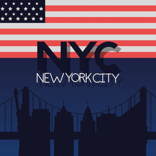 Bandera de nueva york de la ciudad americana vector gratuito