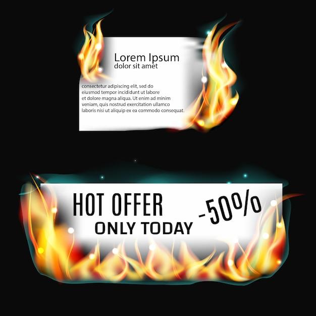 Bandera de papel en llamas Vector Premium