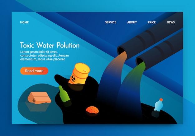 La bandera plana se escribe la contaminación del agua tóxica 3d. Vector Premium