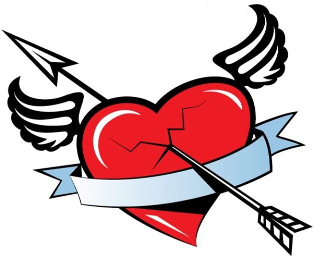 Corazón con alas con una aureola | Descargar Iconos gratis
