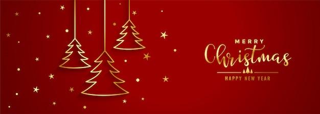 Bandera roja del festival de navidad con árbol de línea dorada vector gratuito