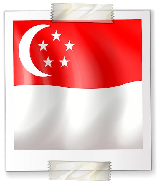Bandera de singapur en papel cuadrado vector gratuito