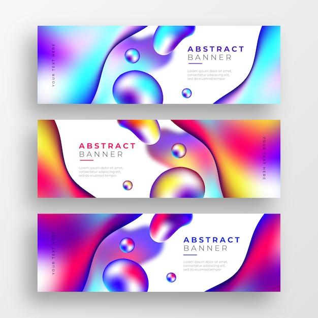 Banderas abstractas de negocios con formas de colores líquidos vector gratuito