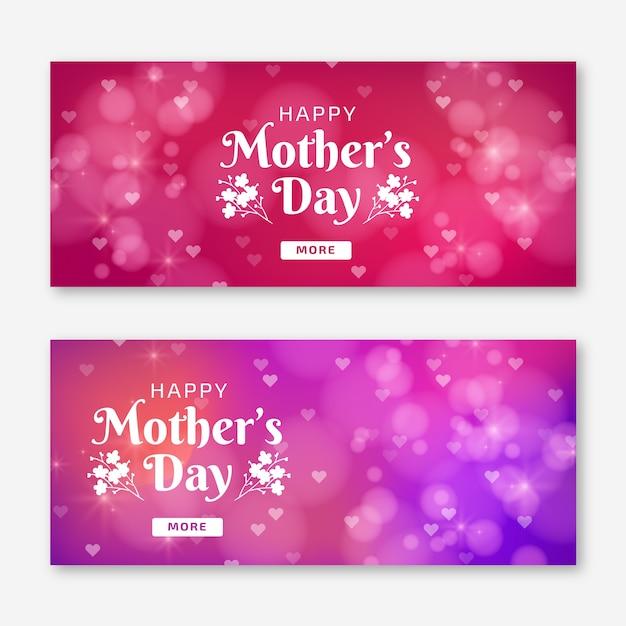 Banderas borrosas del día de la madre Vector Premium