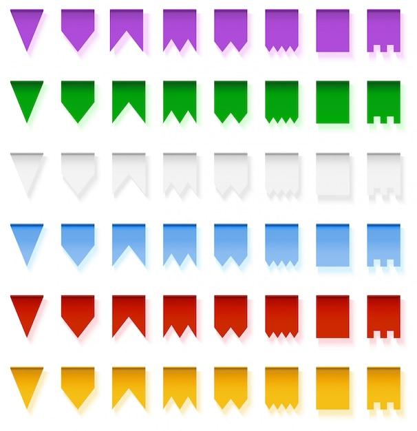 Banderas brillantes multicoloras guirnaldas aisladas sobre fondo blanco Vector Premium
