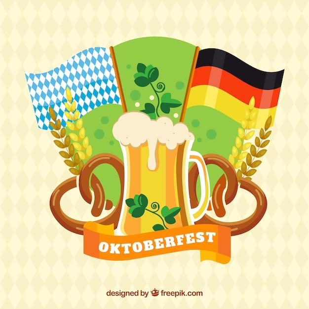 banderas cerveza pretzels y trigo con diseo plano vector gratis