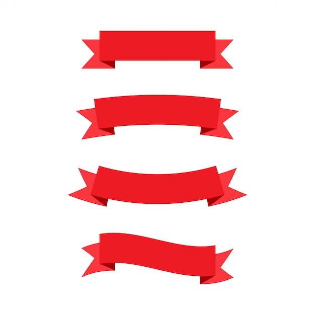 Banderas de cintas rojas. Vector Premium