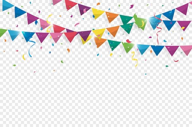 Banderas de colores del empavesado con confeti y cintas para cumpleaños Vector Premium