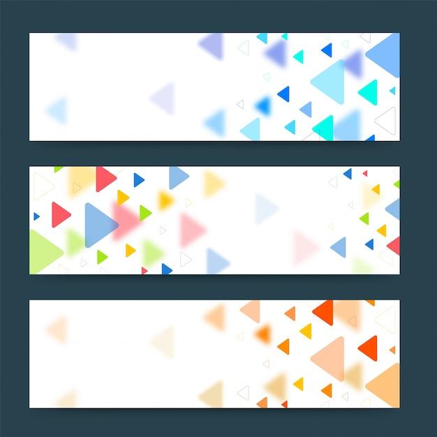 banderas coloridas o cabeceras con varios tringulos vector banners listos para su texto o diseo