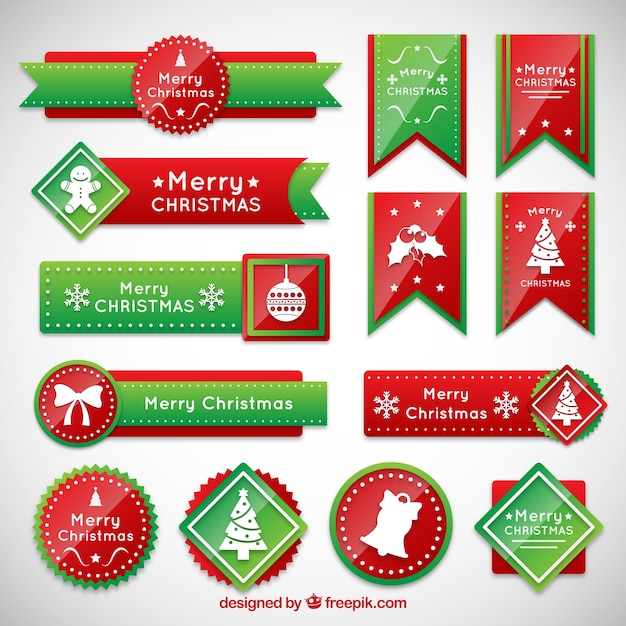 Banderas de la navidad en rojo un color verde | Descargar Vectores ...