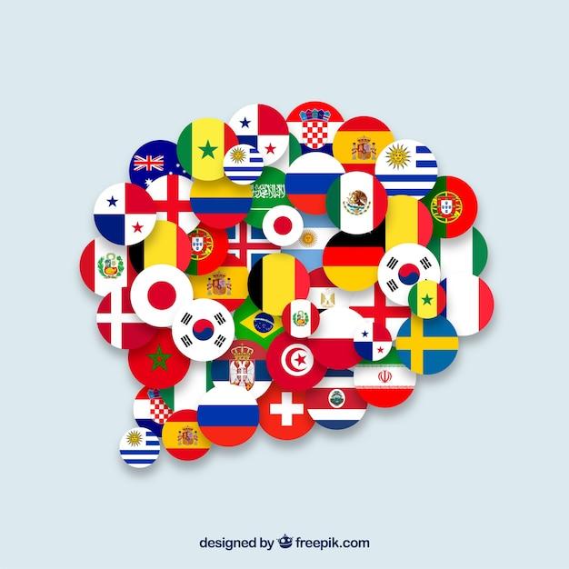 Banderas de diferentes países en forma de burbuja de texto vector gratuito