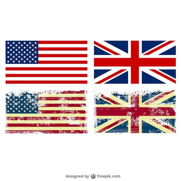 Banderas de estados unidos y reino unido grunge vector gratuito