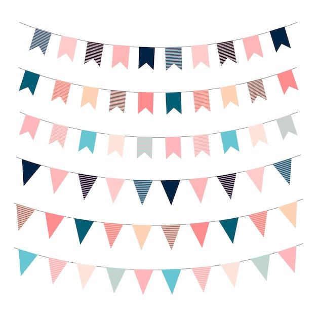 Banderas de guirnaldas banderas de plantillas imprimibles. feliz cumpleaños, vector, ilustración Vector Premium