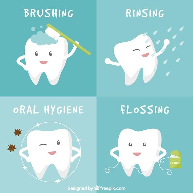 Banderas de higiene oral vector gratuito