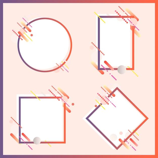 Banderas modernas en varias formas conjunto ilustración vector gratuito