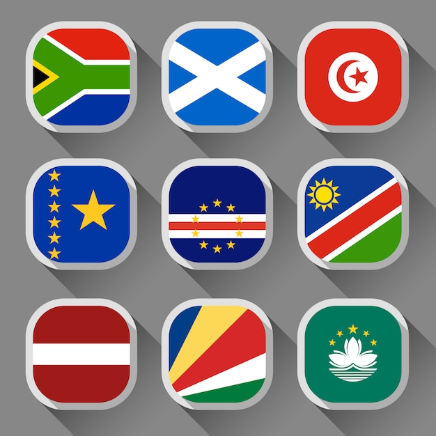 Banderas del mundo Vector Premium