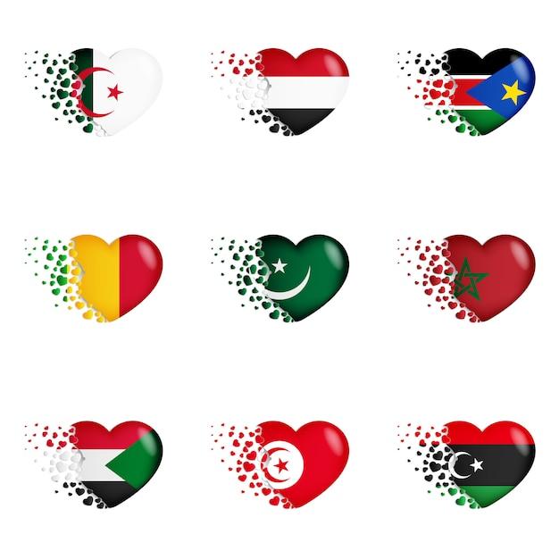 Banderas nacionales en la ilustración del corazón. con amor al país. las banderas nacionales de volar pequeños corazones Vector Premium