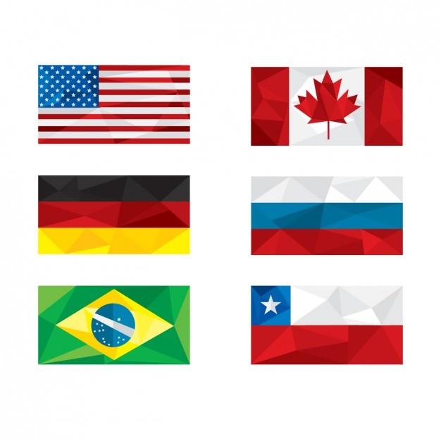 Banderas de naciones poligonales vector gratuito