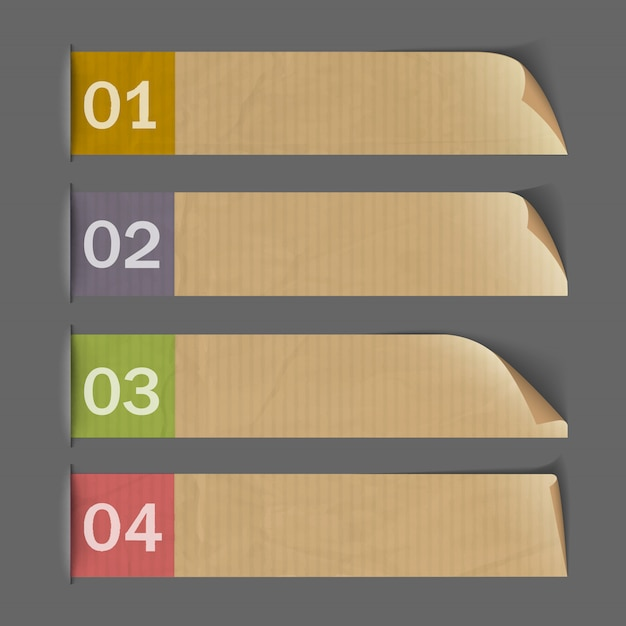 Banderas numeradas de papel para infografía Vector Premium