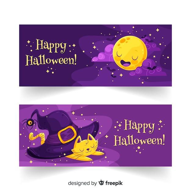 Banderas planas de halloween noche estrellada vector gratuito